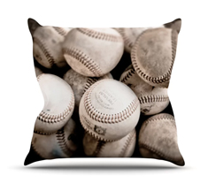 On the Mound by Debbra Obertanec Baseball Throw Pillow