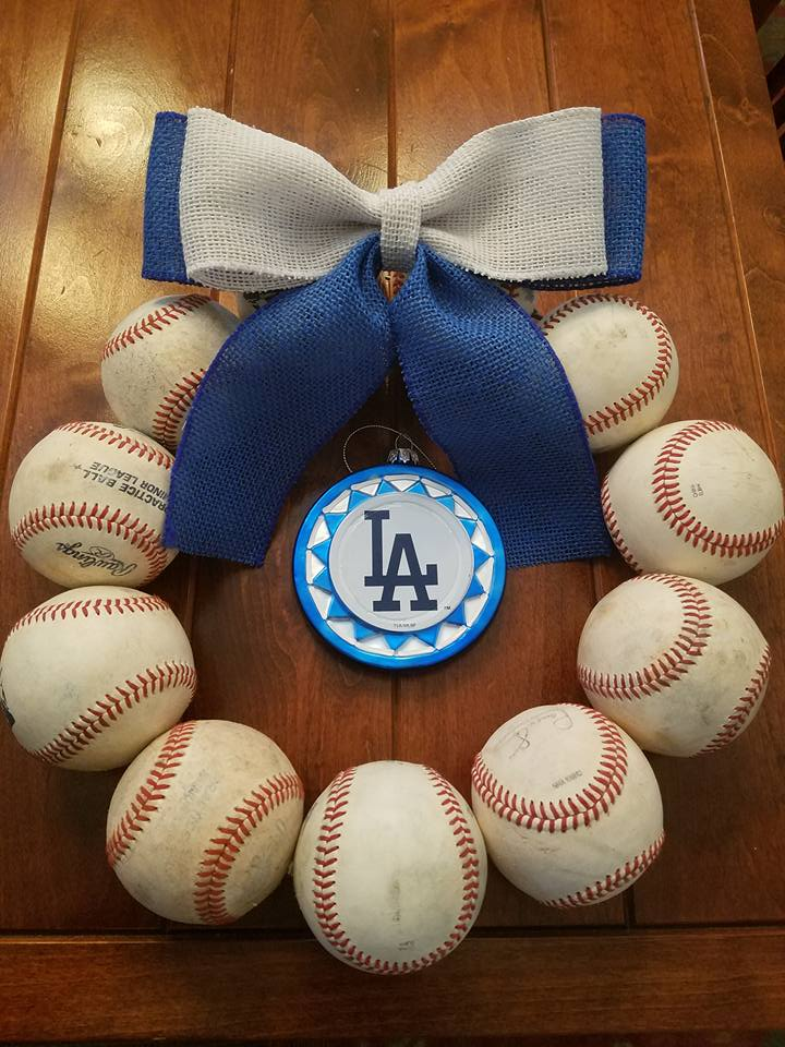 dodgers baseball wreath