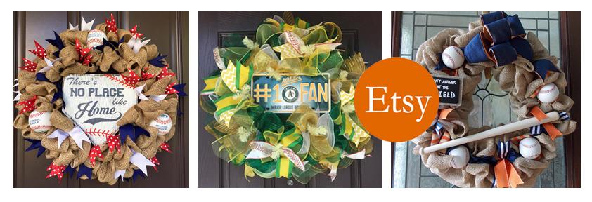 etsy baseball wreath banner