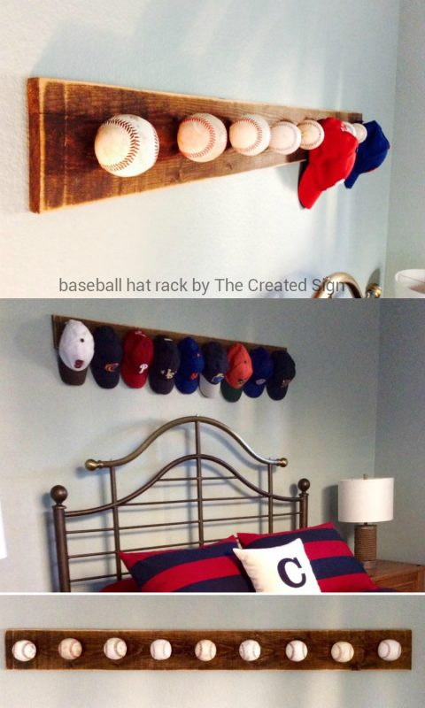 Homemade baseball hat rack