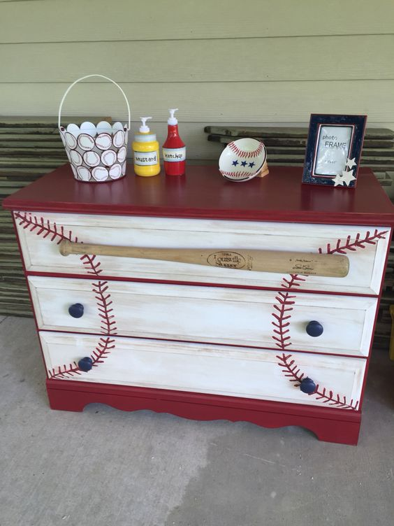 painted baseball dresser