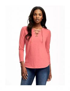 relaxed lace up top