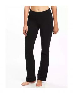 black mid rise yoga pants