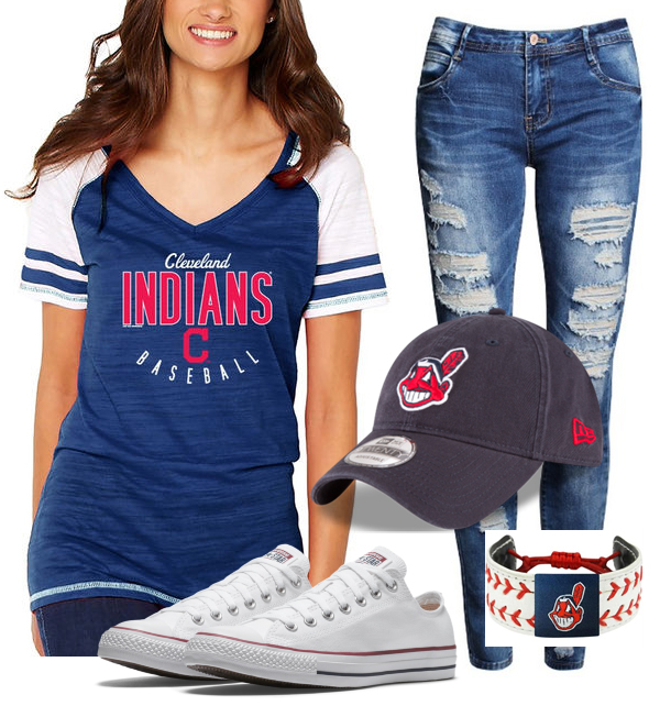 cleveland indians baseball outfit with bracelet