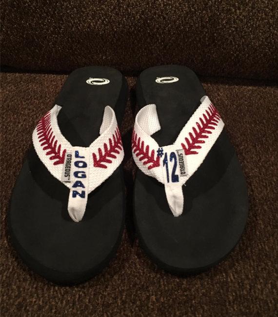 custom baseball flip flops