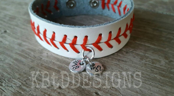 custom baseball leather bracelet