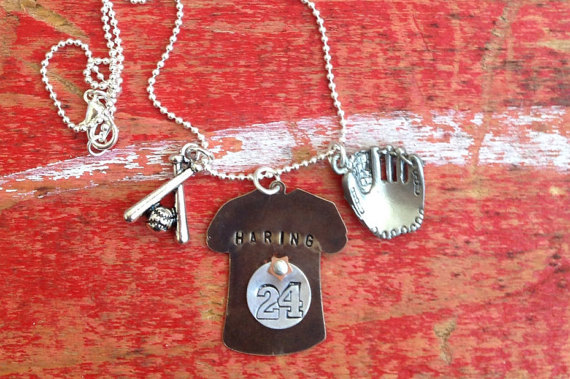 custom baseball hand stamped jersey necklace