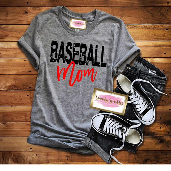 gray baseball mom with red letters