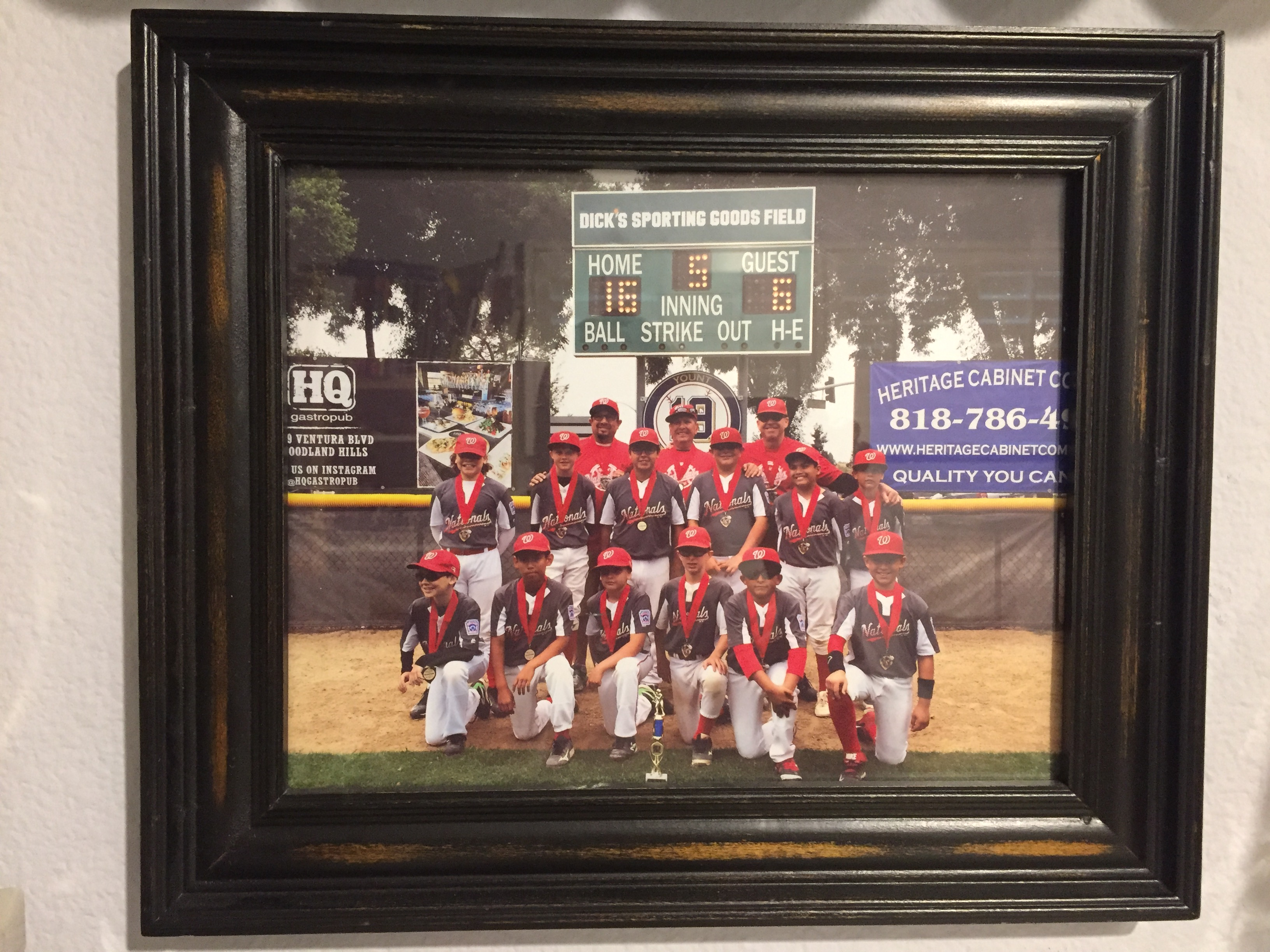 baseball team photo in frame