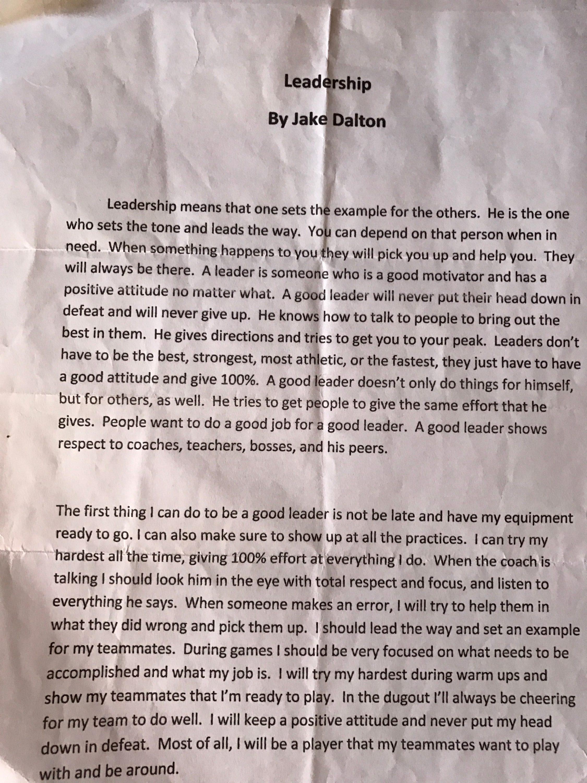 jake leadership essay
