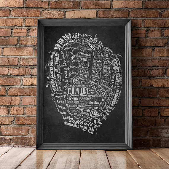 personalized baseball glove print