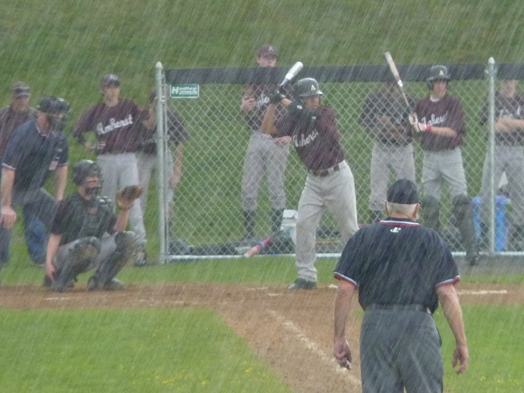 rainy baseball game