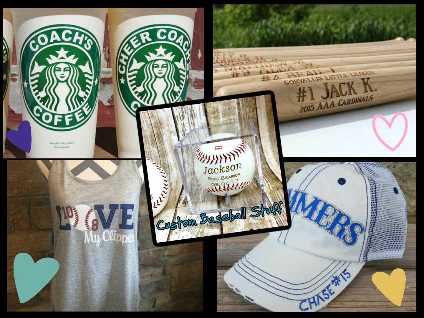custom baseball items collage