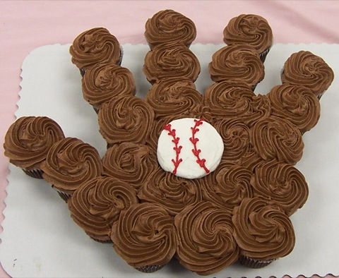 baseball glove cupcake arrangement