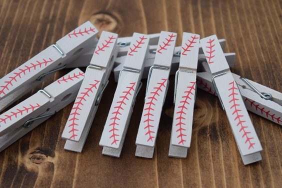 baseball painted clothespins