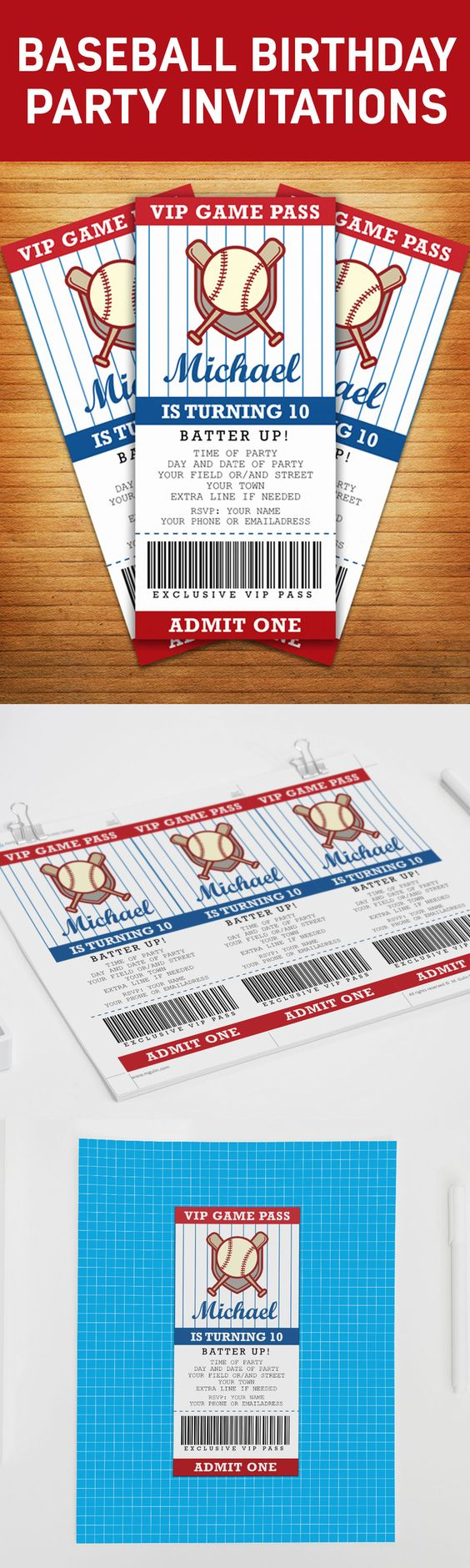 baseball game ticket party invitations