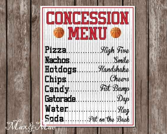 concession menu