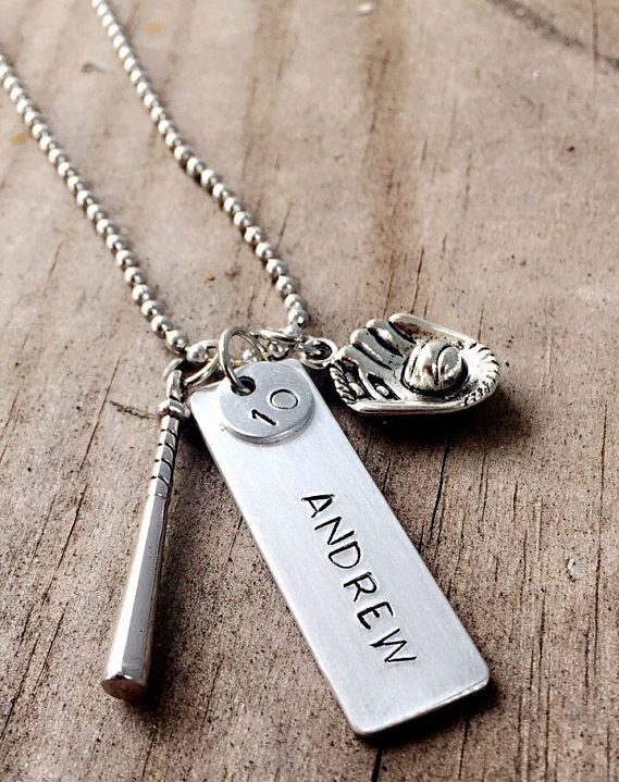 baseball dog tag style charm necklace