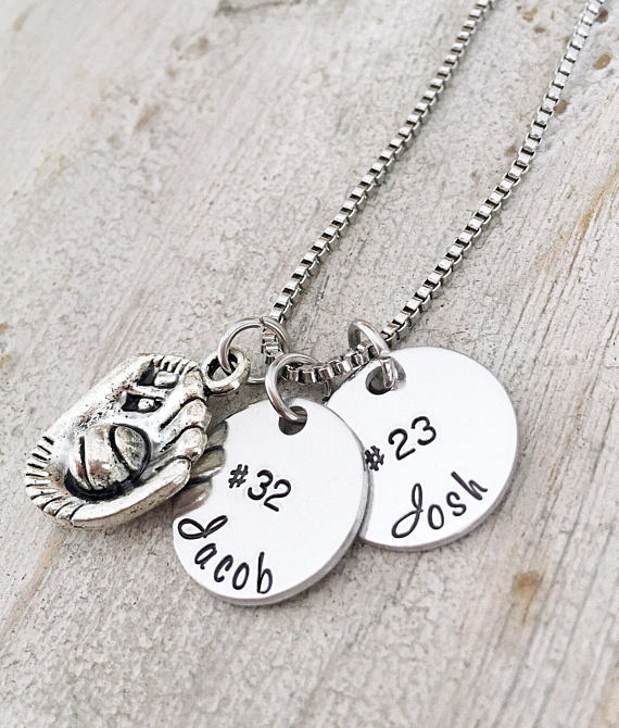 baseball mom two charm necklace