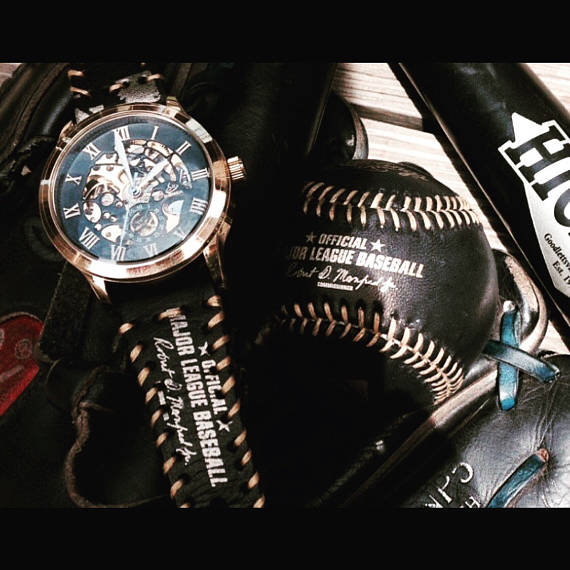 gold winner watch face with custom baseball strap