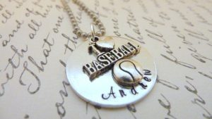 i love baseball charm necklace