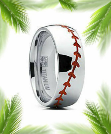 titanium baseball ring with border
