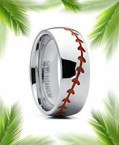 titanium baseball ring with red threads
