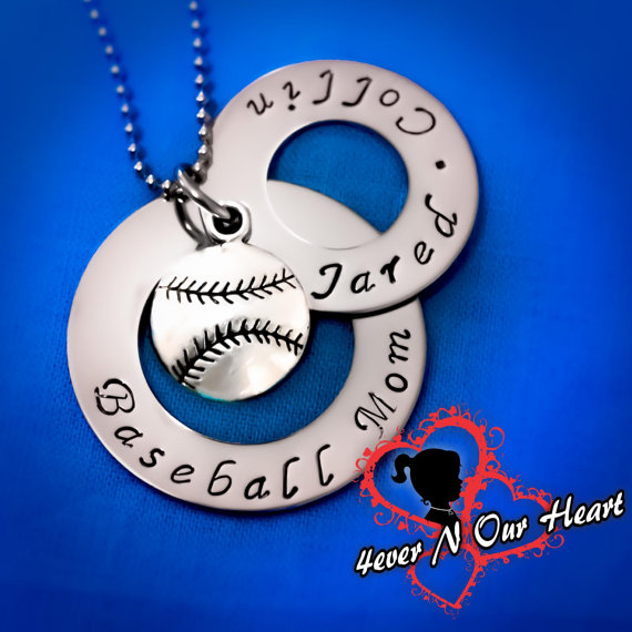 two ring baseball necklace