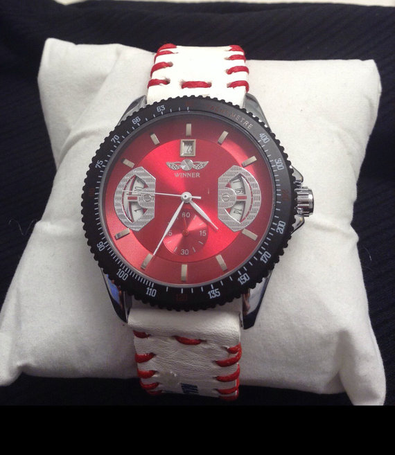 winner watch face with baseball strap