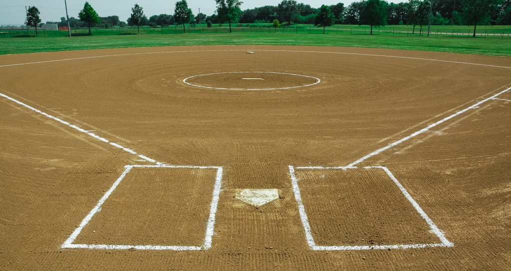 freshly maintained baseball field