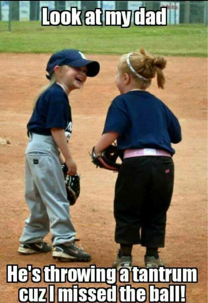 baseball girls talking about dad screaming meme