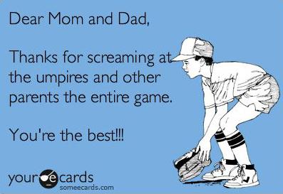 baseball parents thanks for screaming meme