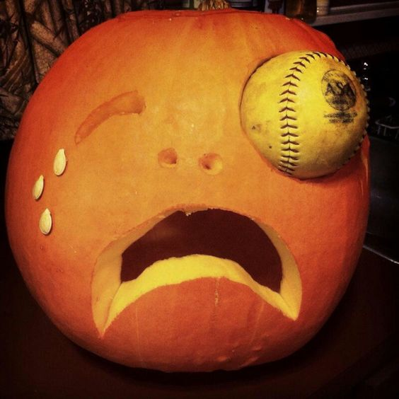 baseball in the eye pumpkin