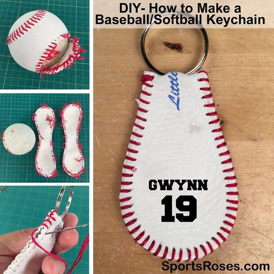 baseball leather keychain