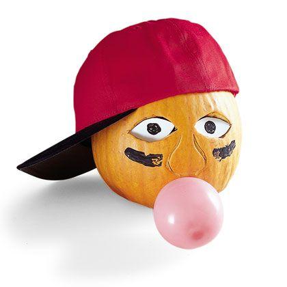 baseball player pumpkin with balloon