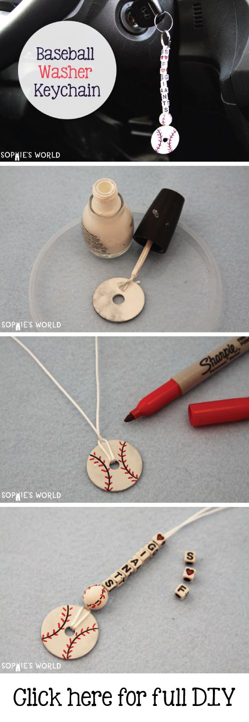 baseball washer keychain