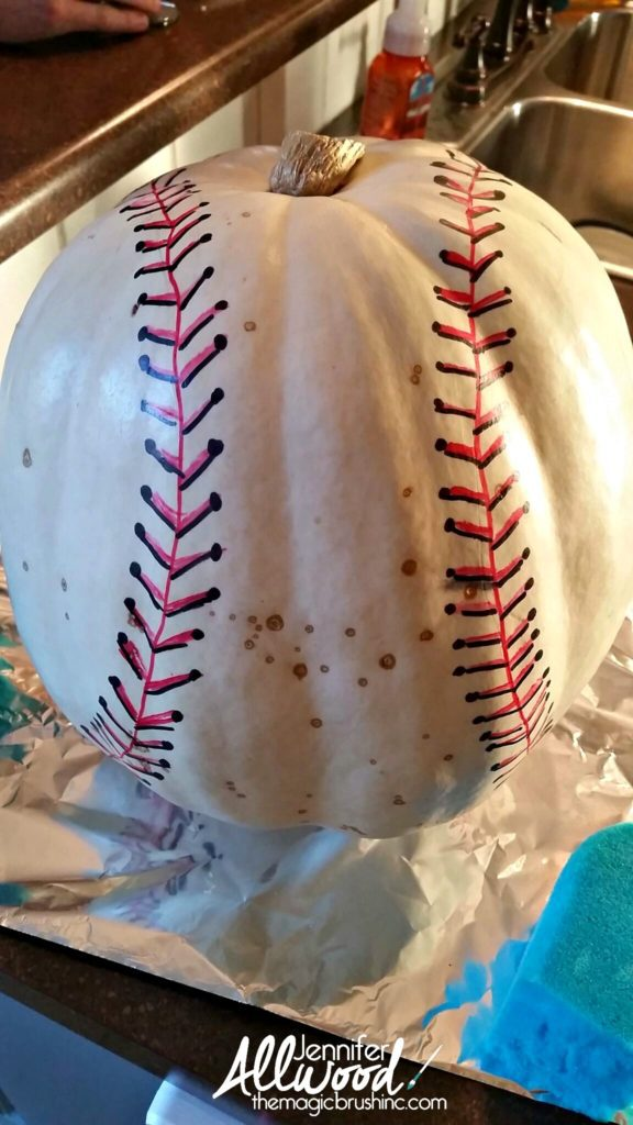 painted baseball pumpkin