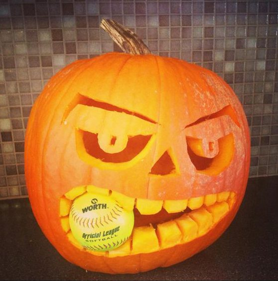 pumpkin eating a softball