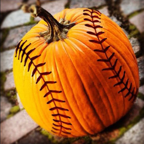 Baseball threads pumpkin