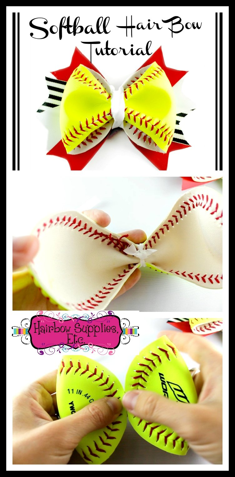 softball hair bow