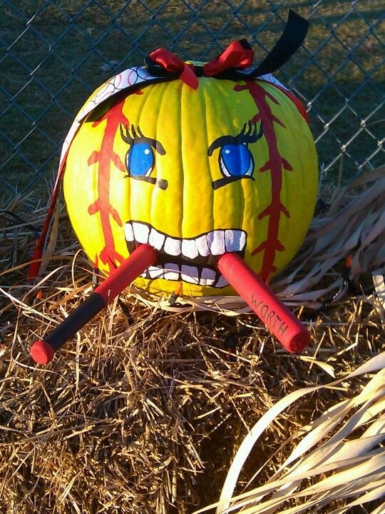 softball pumpkin with bat
