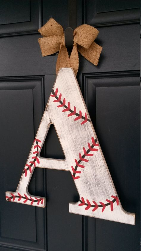 wooden baseball letter wreath