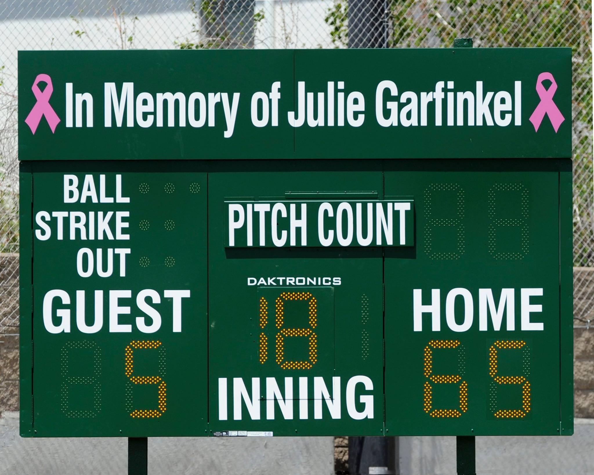 julie garfinkel memorial scoreboard