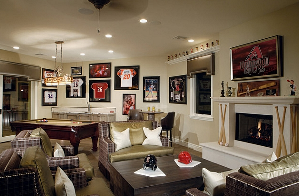 baseball mancave with seating area
