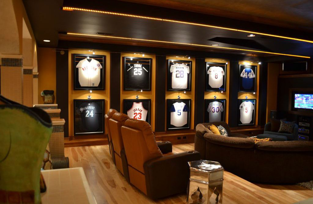 baseball contemporary mancave with jersey cases