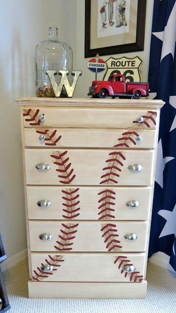 baseball dresser with metal handles