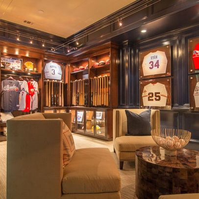 baseball mancave with bats and jerseys