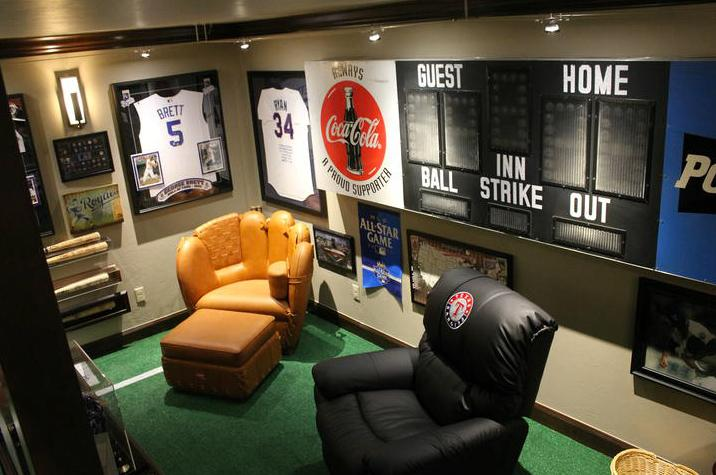 Baseball Mancave With Scoreboard