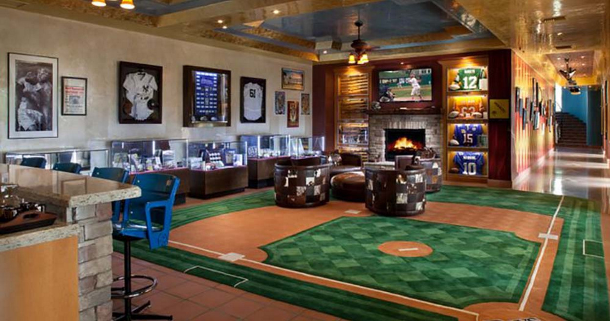 mancave with large baseball rug