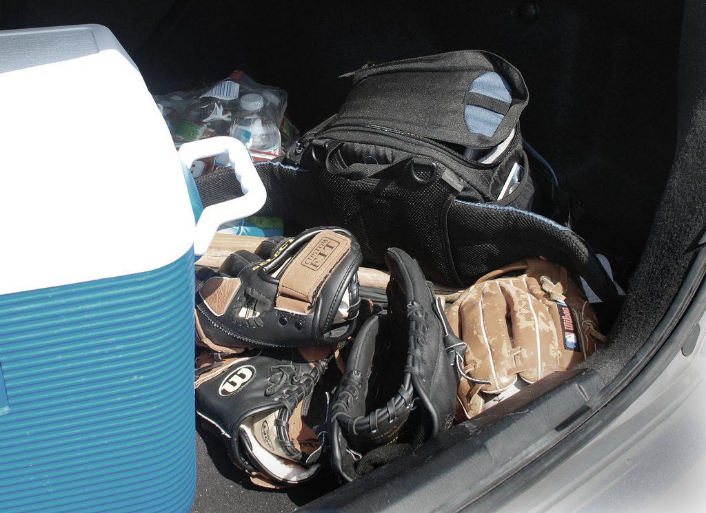 baseball gloves in trunk